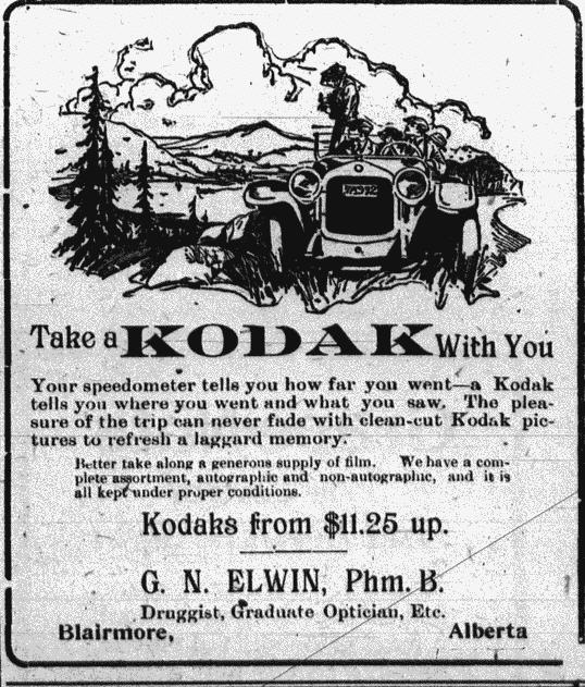 Ad associates portable cameras with tourism. From the Blairmore Enterprise, November 11, 1920