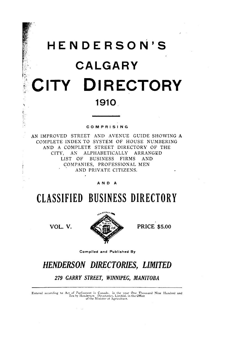Peel 2961: Henderson Directories, Henderson's Calgary