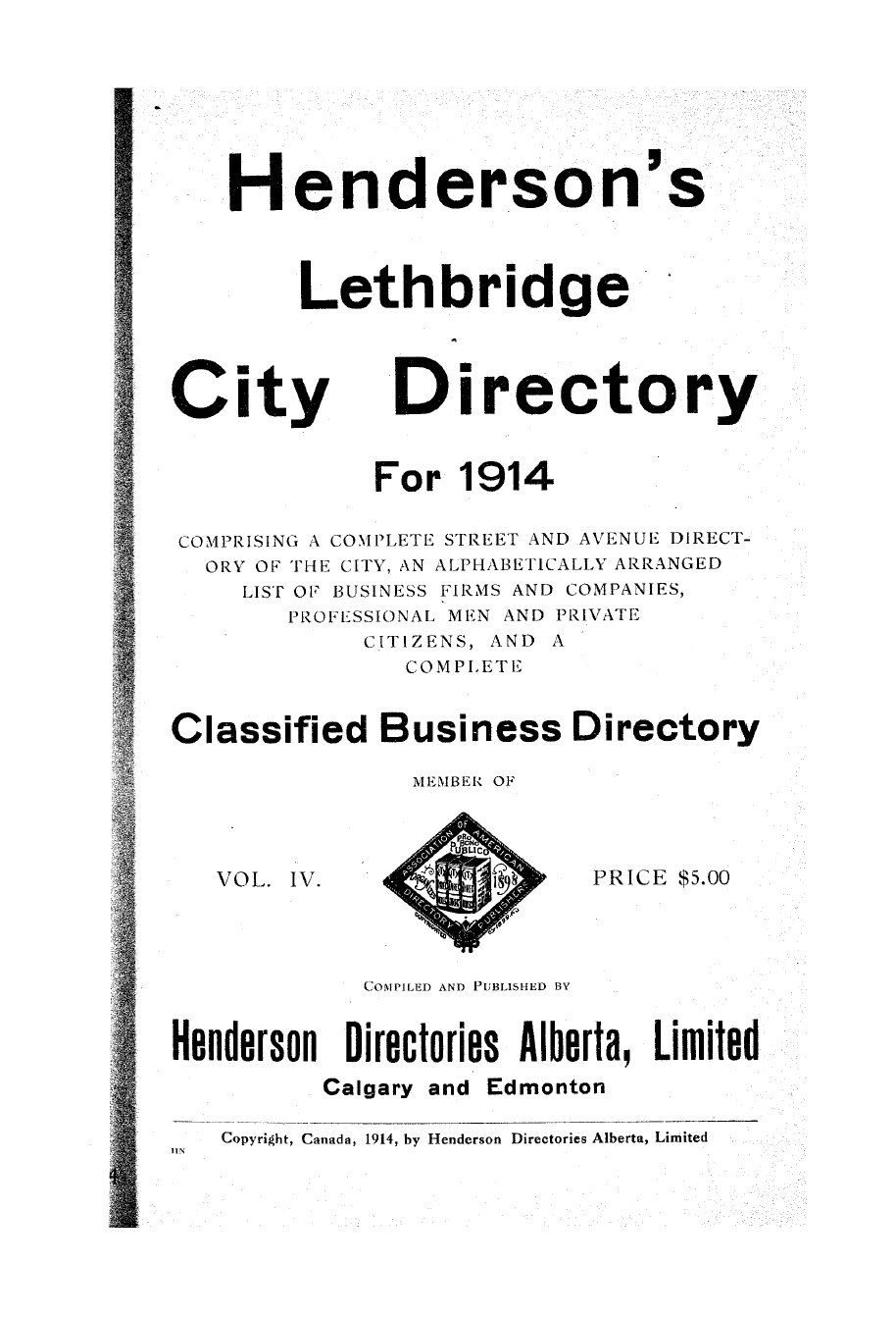 Henderson's Directory for City of Calgary, Alberta. 1960 Henderson's Directories
