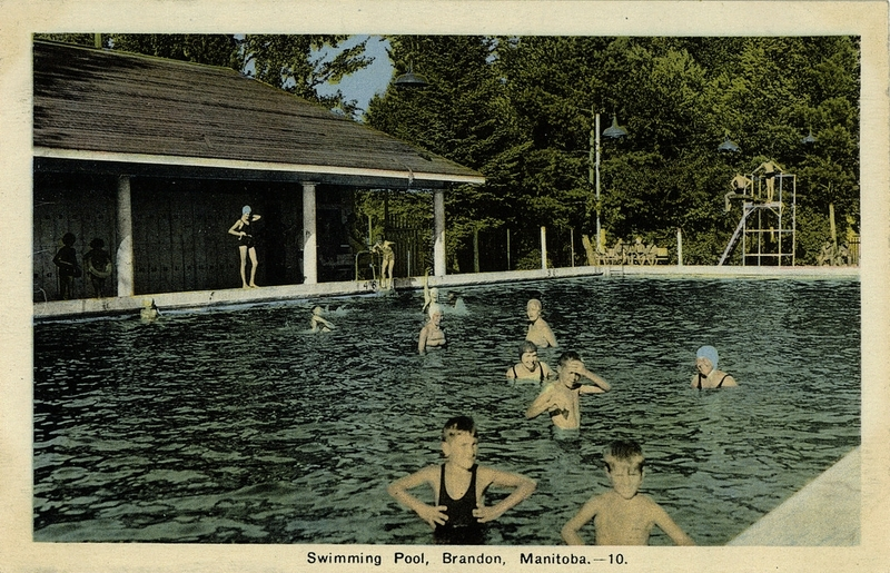 Postcard 174 Photogelatine Engraving Co Swimming Pool Brandon Manitoba 1920