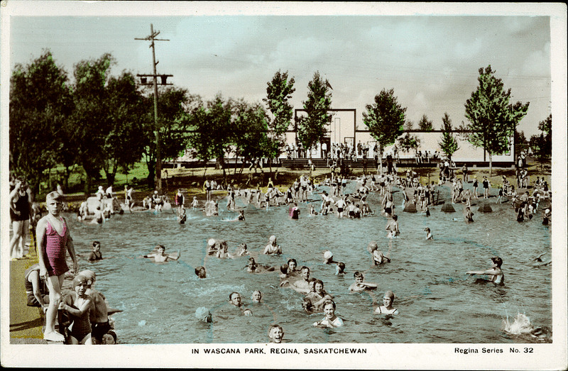 Postcard 2626 the camera products co in wascana park regina saskatchewan after 1930 University of regina swimming pool
