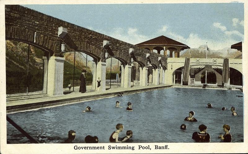 Postcard 7224 government swimming pool banff 1910 - University of alberta swimming pool ...