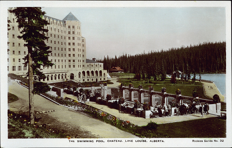 Postcard 8481 The Camera Products Co The Swimming Pool Chateau Lake Louise Alberta Cca 1930