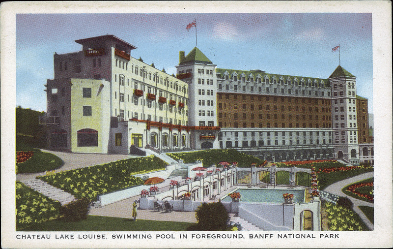 Postcard 8544 Harmon Byron Chateau Lake Louise Swimming Pool In Foreground Banff National