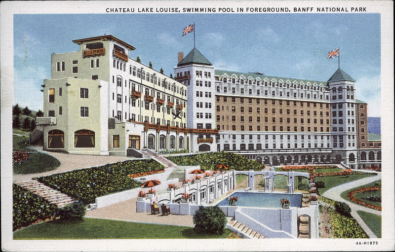 Postcard 8545 Harmon Byron Chateau Lake Louise Swimming Pool In Foreground Banff National