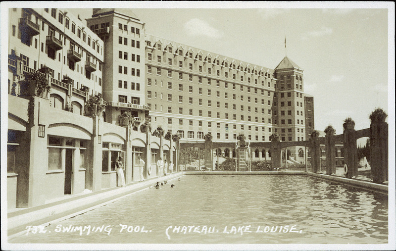 Postcard 8653 harmon byron swimming pool chateau lake - University of alberta swimming pool ...