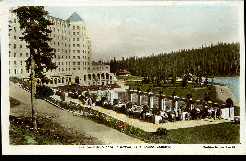 Postcard 10632 Camera Products Co The Swimming Pool Chateau Lake Louise Alberta Cca 1930