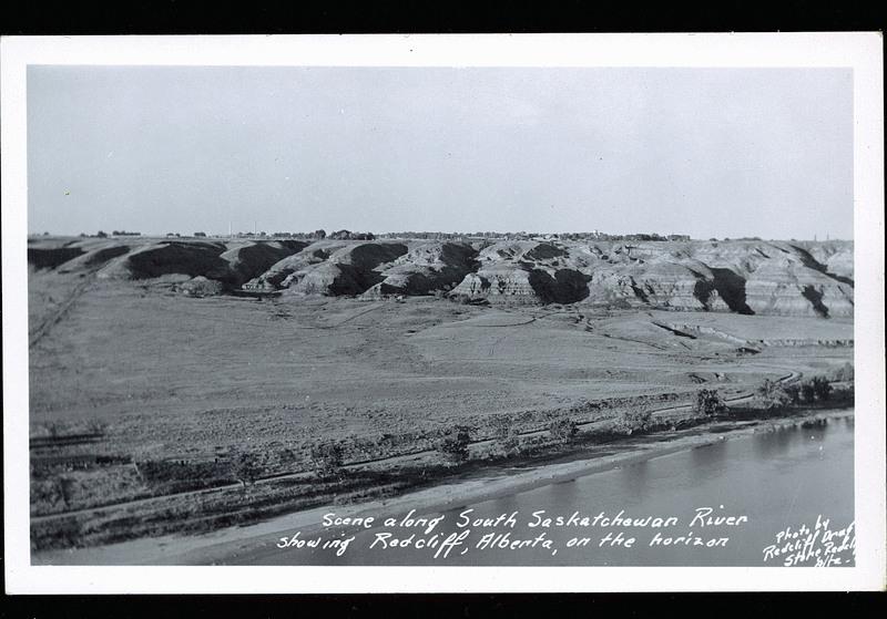Postcard 10869: Redcliff Drugstore, Scene along South Saskatchewan