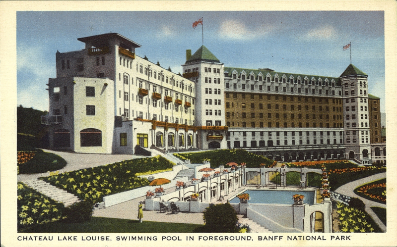 Postcard 11867 Harmon Byron Chateau Lake Louise Swimming Pool In Foreground Banff National