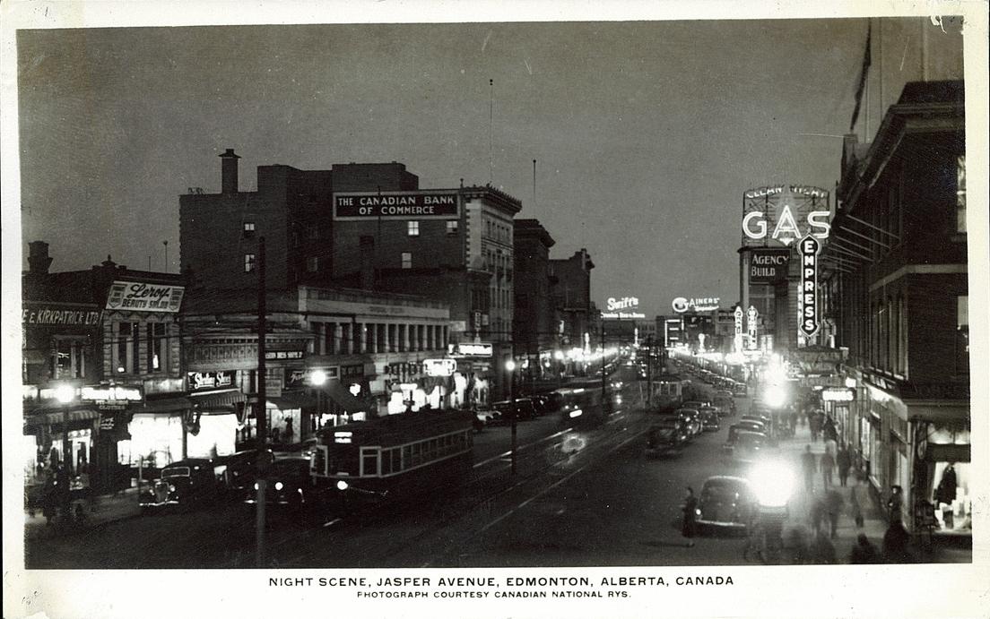 Postcard 14099 Night Scene Jasper Avenue Edmonton