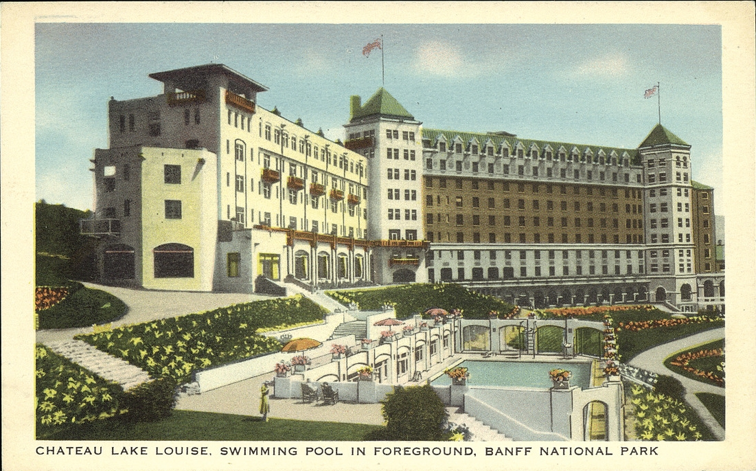Postcard 14405 Harmon Byron Chateau Lake Louise Swimming Pool In Foreground Banff National