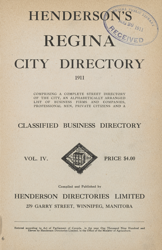 Peel 3592 2 3: Henderson Directories, Henderson's Regina